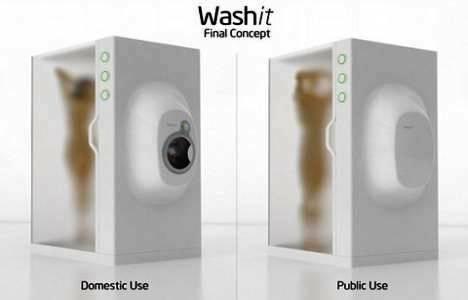 Hem Çamaşırı Hem İnsanı Aynı Anda Yıkayan Makine+duş Tasarladı!