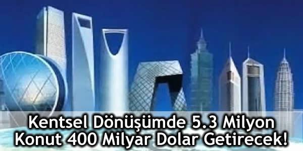 Kentsel Dönüşümde 5.3 Milyon Konut 400 Milyar Dolar Getirecek!