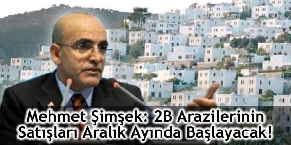 Mehmet Şimşek: 2B Arazilerinin Satışları Aralık Ayında Başlayacak!