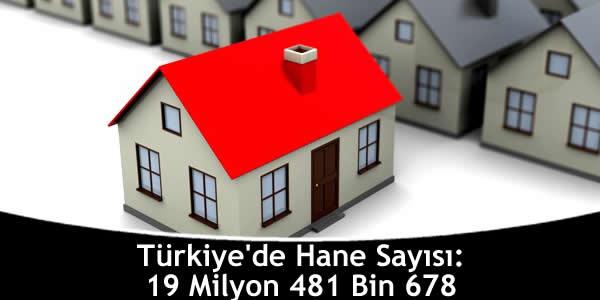 Türkiye'de Hane Sayısı: 19 Milyon 481 Bin 678