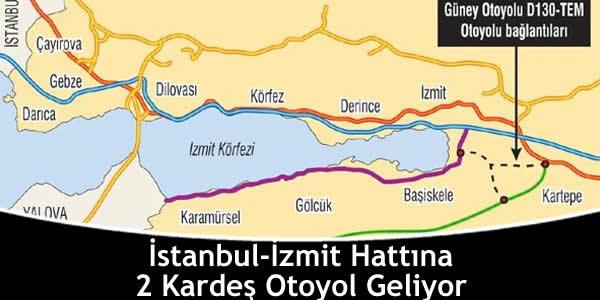 İstanbul-İzmit Hattına 2 Kardeş Otoyol Geliyor