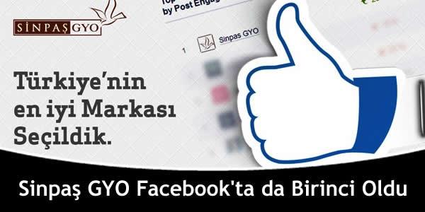 Sinpaş GYO Facebook'ta da Birinci Oldu